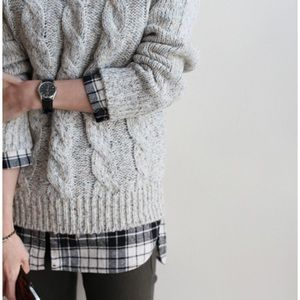 Vintage 100% Shetland Wool Cable Knit Gray Sweater